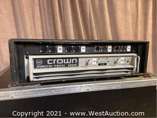 Crown Macro-Tech 1200 Amplifier, Custom Connector Panel in Wood Rack