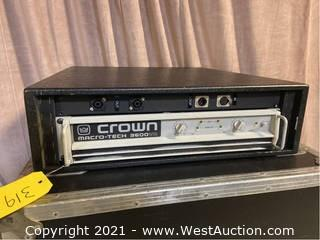 Crown Macro-Tech 3600 VZ Amplifier, Custom Connector Panel in Wood Rack
