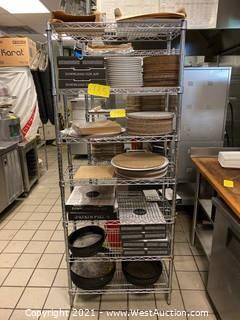 Metal Shelving Rack with Contents of Deep Dish Pizza Pans, Cardboard