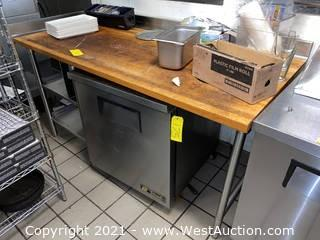 Stainless Steel Prep Table with Butcher Block Top