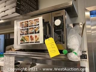 Panasonic Commercial Microwave with Wall Mounted Stainless Steel Shelf