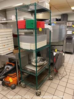 Rolling Metal Shelving Rack with Contents