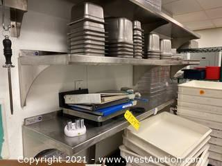 (2) Stainless Steel Wall Mounted Shelves with Contents of Trays, Food Scales
