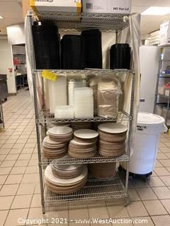 Metal Shelving Rack With To-Go Boxes And More