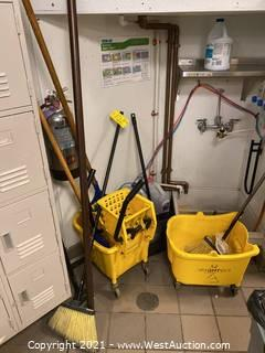 Bulk Lot; Cleaning Supplies - Mop Buckets and Brooms