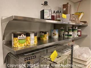 (2) Stainless Steel Wall Mounted Shelves and Contents