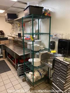 Rolling Rack and Contents of Dishware and Attachments