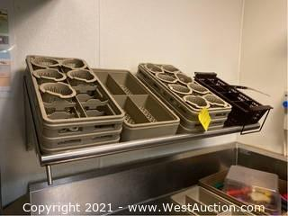 Stainless Steel Wall Mounted Shelf and Contents of Dish Racks