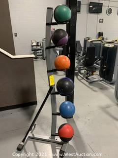 Medicine Ball Rack With (6) Medicine Balls