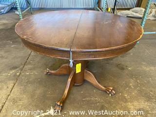"45"" Circular Wood Table with Claw Feet"