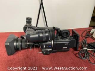 JVC Camera GY-HD100 + Fujinon Lens + IDX Battery Mount + Portabrace Case + Controls