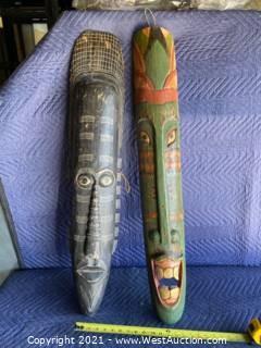 (2) Hand Carved Wood Masks