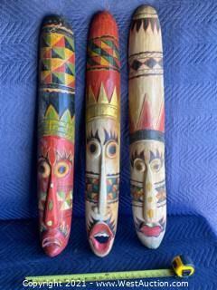 (3) Hand Carved Wood Masks