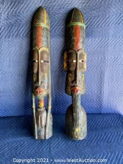 (2) Hand Carved Wood Masks Approx 3' Tall