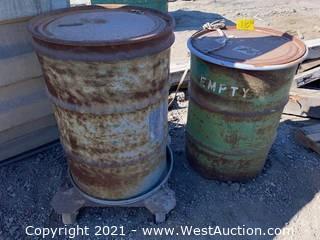 (2) 50gal Drums & (1) Steel Drum Truck