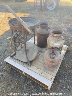 (2) Vintage Jugs, (1) Vintage Gas Can, And (1) Forge With Grinding Stone