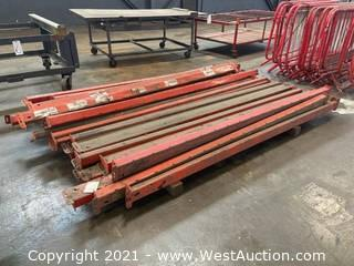"""Heavy Duty Pallet Racking With (6) 184"""" Uprights, (30) 9' Crossmembers, (8) Wire Shelves, And (54) Boards"""