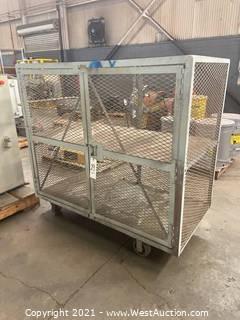 5' Heavy Duty Lockable Metal Cage On Wheels