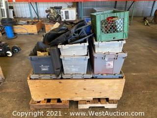 Crate Of Assorted Electronics And Hardware
