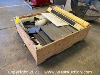 Crate With Plastic Materials And Sawhorses