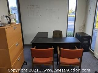 L-Shaped Office Desk, (3) Chairs, and Cabinets