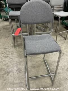 (15) Bertolini Padded Stools with  Rolling Rack and Cover