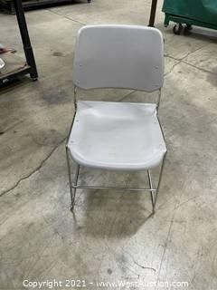(30) Bertolini Plastic Chair with Rolling Rack and Cover