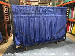 Cart Of (67) 3' Blue Show Ready Siderails With (50) Extra 3' Drape Panels