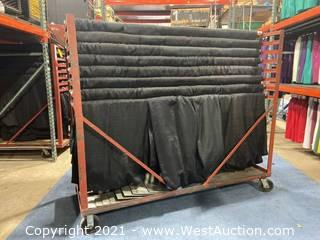 Party Cart Of (24) 8' Black Show Ready Backwalls With (5) Extra 8' Drape Panels
