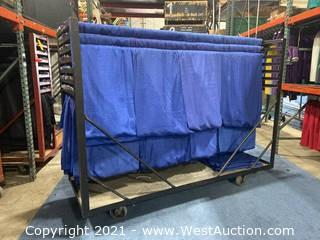 Cart Of (30) 8' Blue Show Ready Backwalls And (37) 3' Blue Show Ready Siderails With (20) Extra 3' Drape Panels