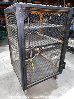 Steel Vertical Travel Equipment Cart with Latching Door