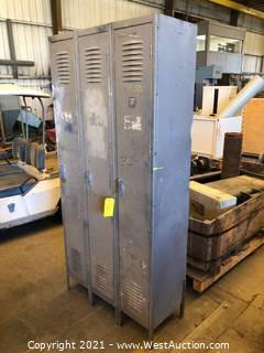 (3) Compartment Metal Locker Unit