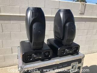 (2) Elation PowerSpot 700 CMY Moving Lights and (1) Road Case