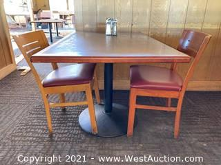 Rectangular Table & (2) Wooden Chairs