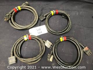 (4) Stage Pin Cables Approx 10 ft 12/3
