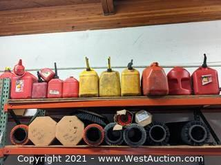 Variety of Scrubber Sweeper Extractor Brushes, Gas Cans, Funnels, End Caps