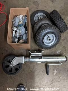 Fulton Trailer Tongue Jack, (4) Small Tires, and Variety of Wheels