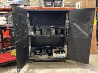 Wood Cabinet With (30) Lens Cans