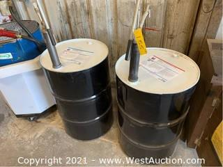 (2) 55-Gallon Drums With Antifreeze/Coolant and (2) Pumps