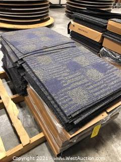 Pallet of (140+) Commercial Carpet Squares and Trim Pieces