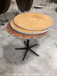 Circular Table And (2) Extra Wood Tabletops