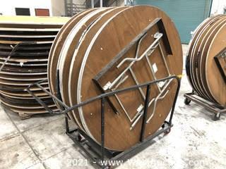 (9) Circular Tables On Cart