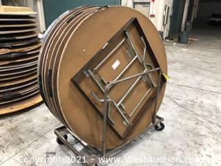 (7) Circular Tables On Cart