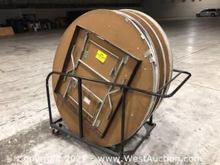(8) Circular Tables On Cart