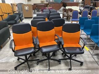 (9) Black and Orange Computer Chairs