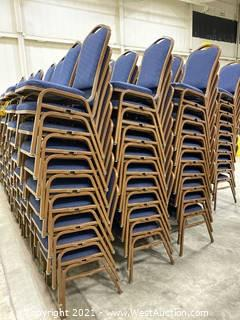 Aprox. (30) Cloth/Metal Frame Stackable Chairs
