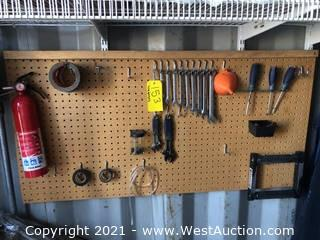 Contents Of Pin Board; Wrenches, Screw Drivers, Tape, and Fire Extinguisher