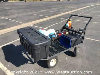 Utility Cart with Heavy Duty Storage Container, Trash Cans and More