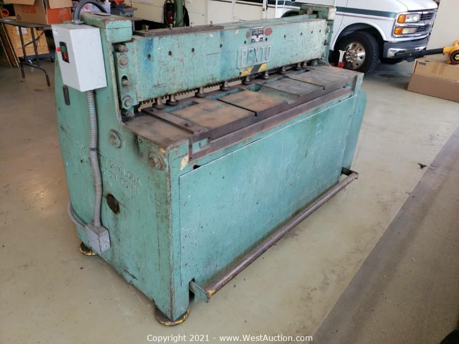 Online Auction of Sheet Metal Shear, Lathe, Golf Cart, and More