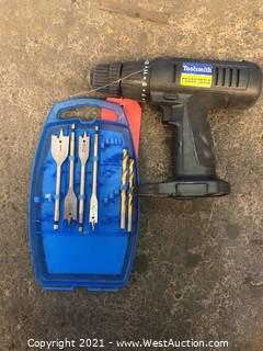 Toolsmith Cordless Drill and Assorted Drill Bits